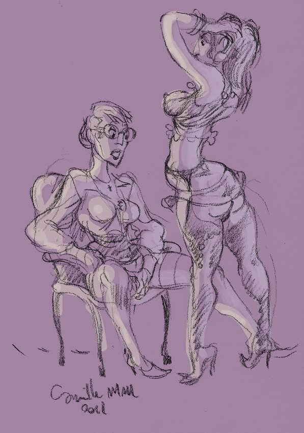 lesbienne se caresse en regardant danser sa copine en lingerie
