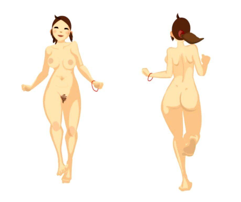 jeune fille nue courant
