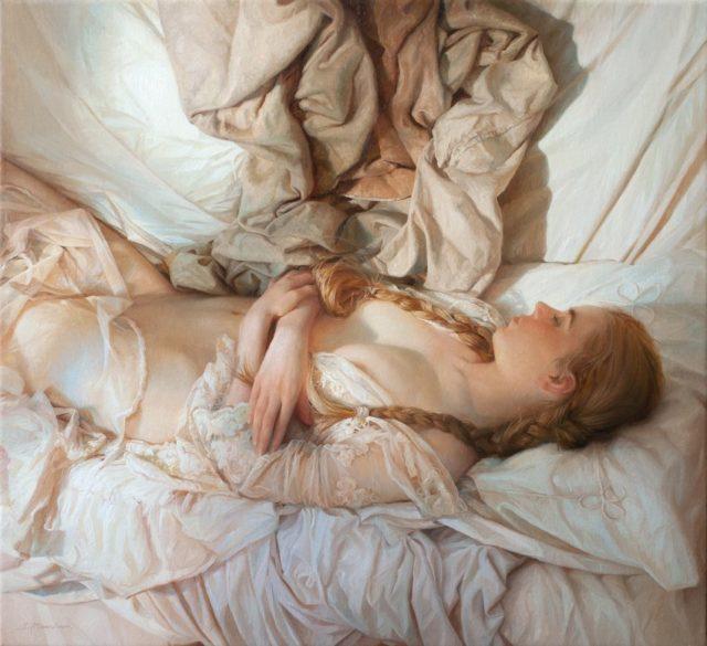 peinture jeune fille à moitié nue dans un lit