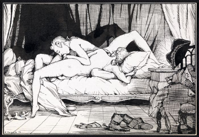 Оральный секс двух молодых дворян. эротика и секс в старинной гравюре.