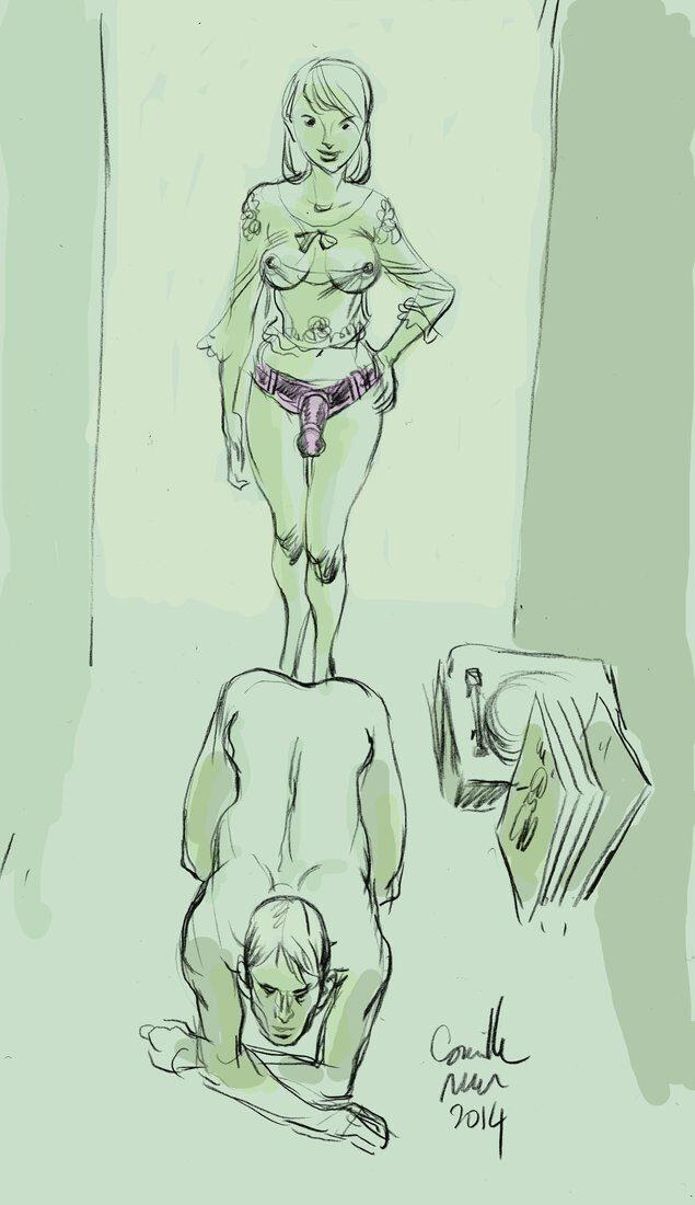 Une jeune femme équipée d'un gode va enculer son mec