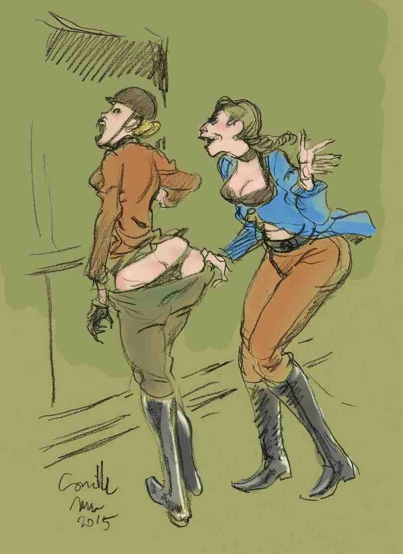 Cavalière fessée par une autre dame sévère