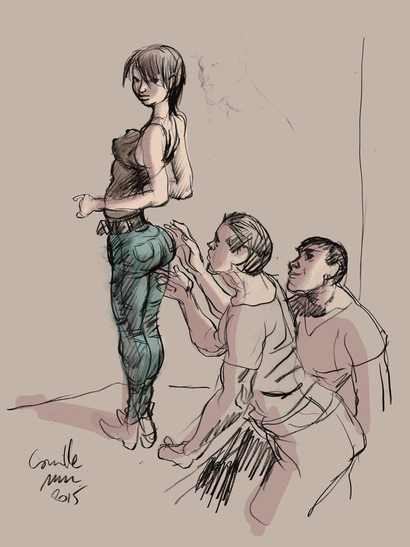 Jeune fille au pantalon serré se fait toucher le cul