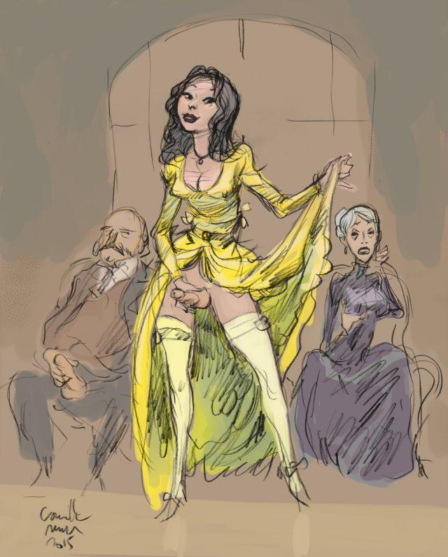 Une shemale en longue robe jaune et bas blanc se branle