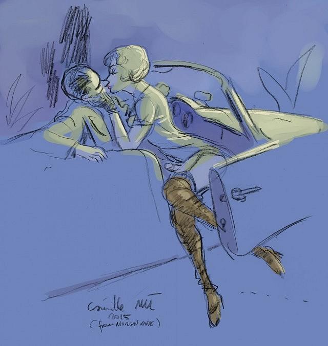 Une délicieuse shemale en bottes embrasse un playboy