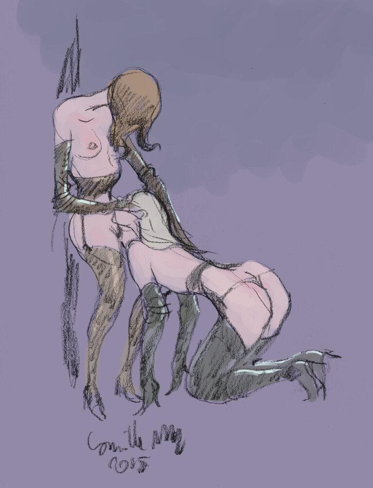 Une lesbienne en bas et gants de cuir se fait lécher le minou