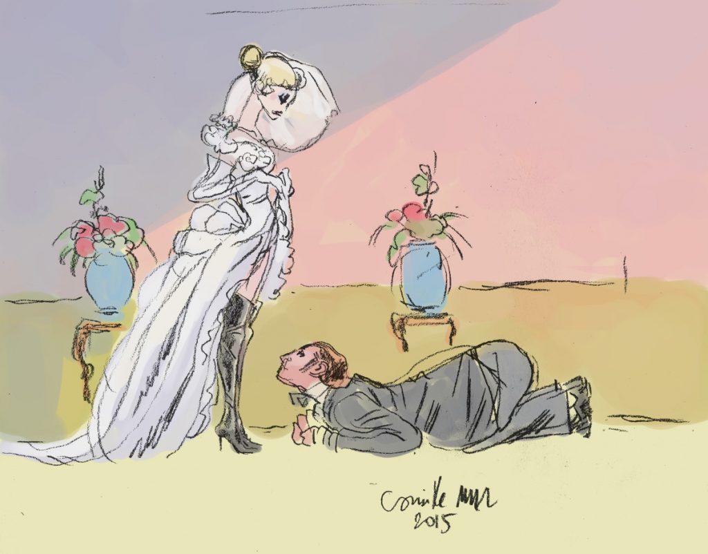 Mariée en bottes hautes et son mari à ses pieds
