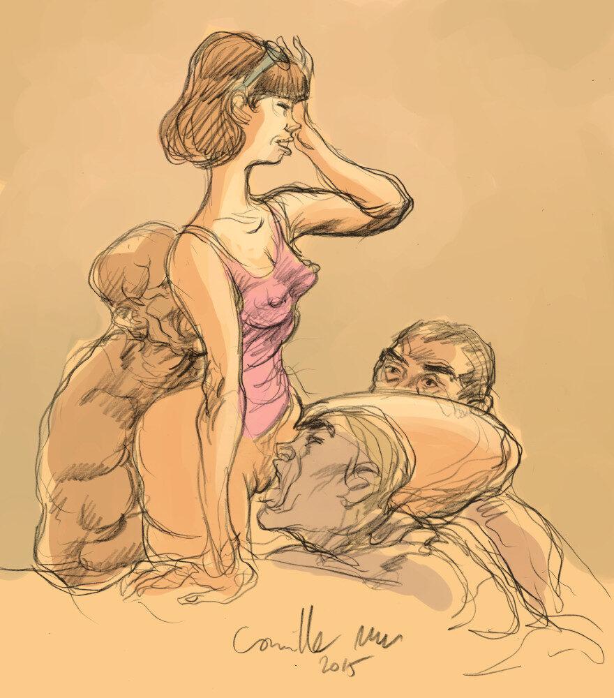 Jeune femme adorée par trois hommes entreprenants