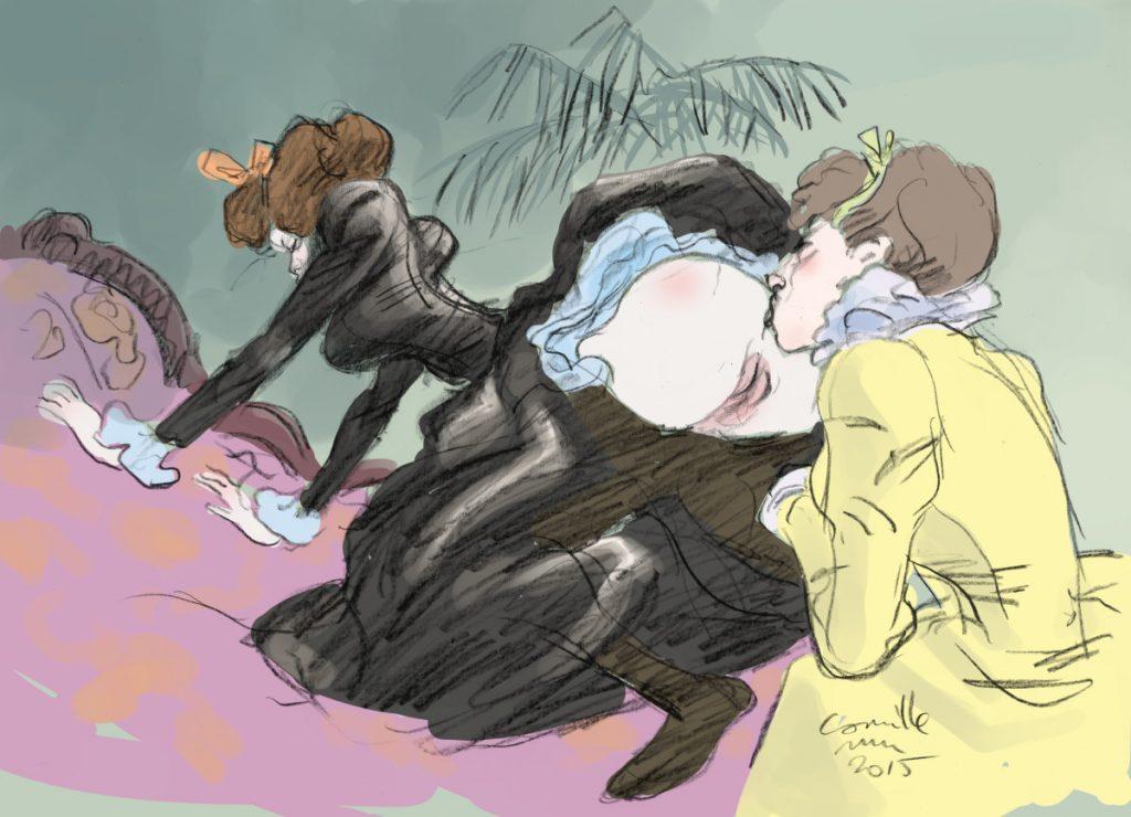 Une dame en grande robe lèche le cul d'une minette