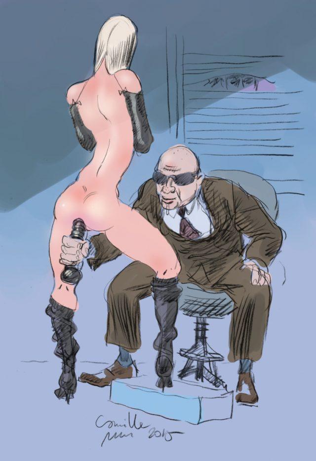 Monsieur qui enfonce un gode dans le cul d'une fille