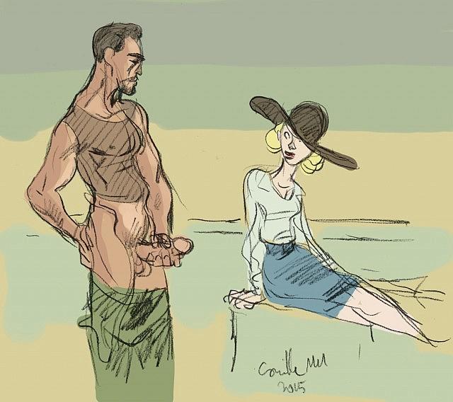 Un homme sexy se branle devant une femme en chapeau