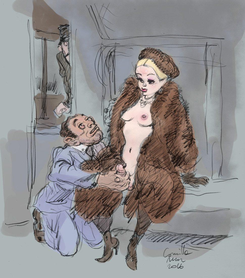 Shemale en fourrures se fait caresser le sexe dans un train