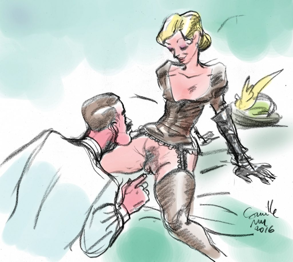 Une femme en bas et jarretelles montrent son sexe à un homme