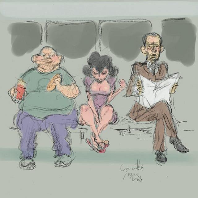 Jeune femme se branlant dans une rame de métro