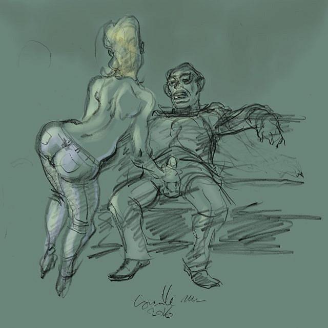 femme en jeans branle un homme assis et habillé