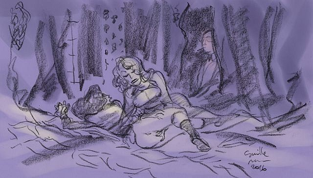 Une femme blonde tient serrée une jeune fille et caresse son sexe