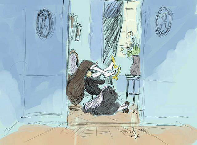 la servante gouine sa maîtresse au fond du couloir