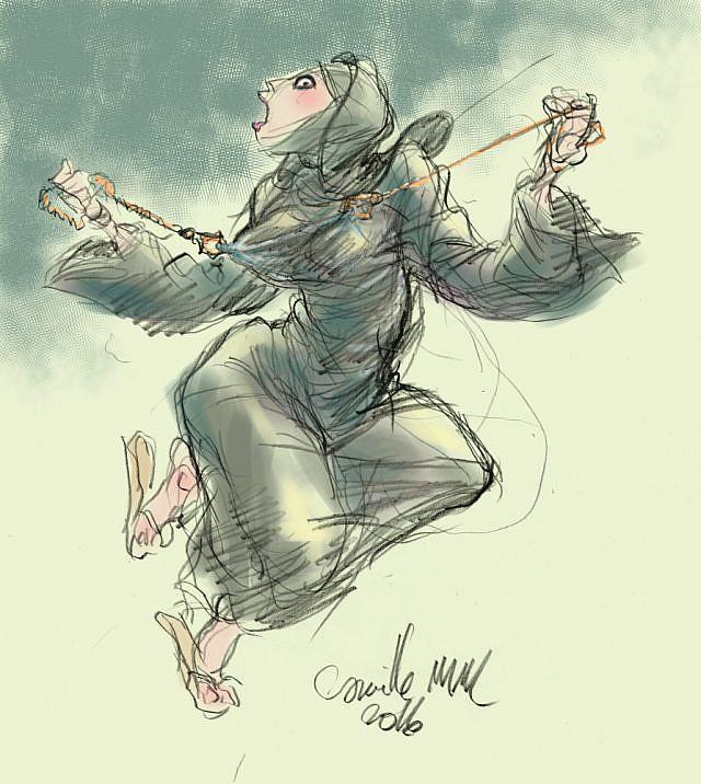 Fille en burqa aux tétons pincés par une pince