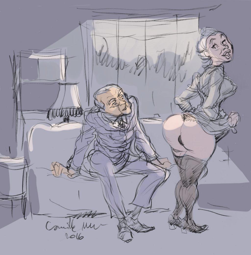 Un retraité admire le cul blanc d'une bonniche