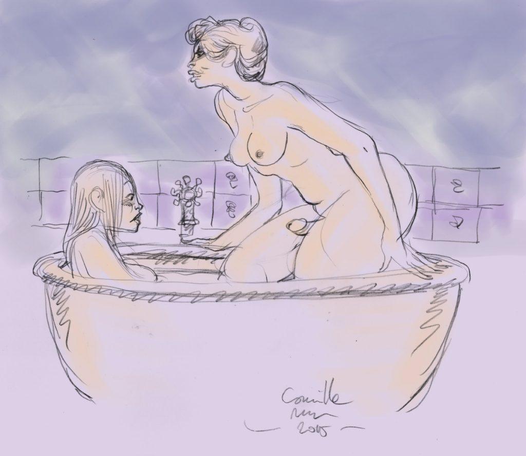 Une ronde shemale et une jeune femme timide dans une baignoire