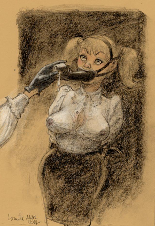 Une jeune fille avec un gode attaché à la bouche